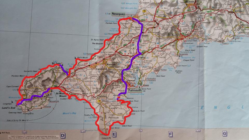 Route auf Karte Cornwall