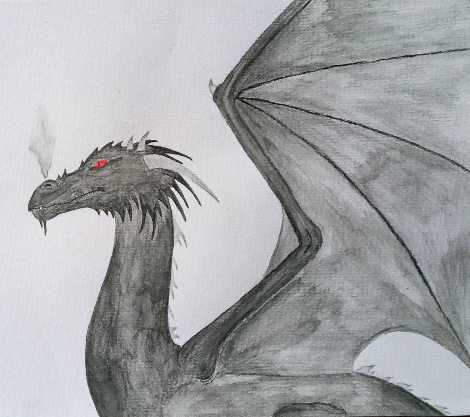 schwarzer gefährlicher Drache