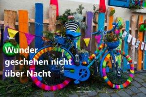 Fahrrad bunt stricken Wunder geschehen nicht über Nacht