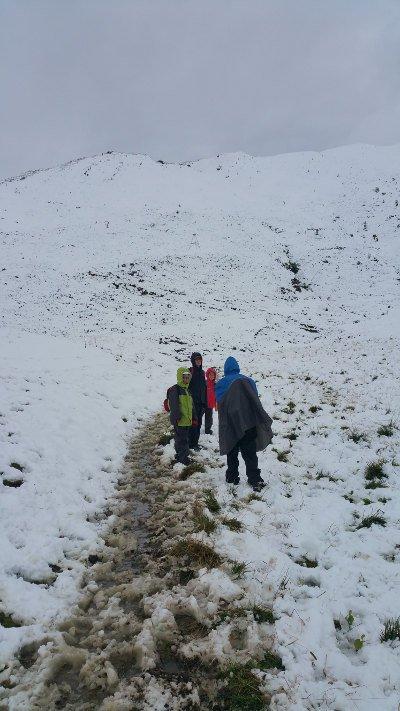 Weg durch den Schnee ins Tal