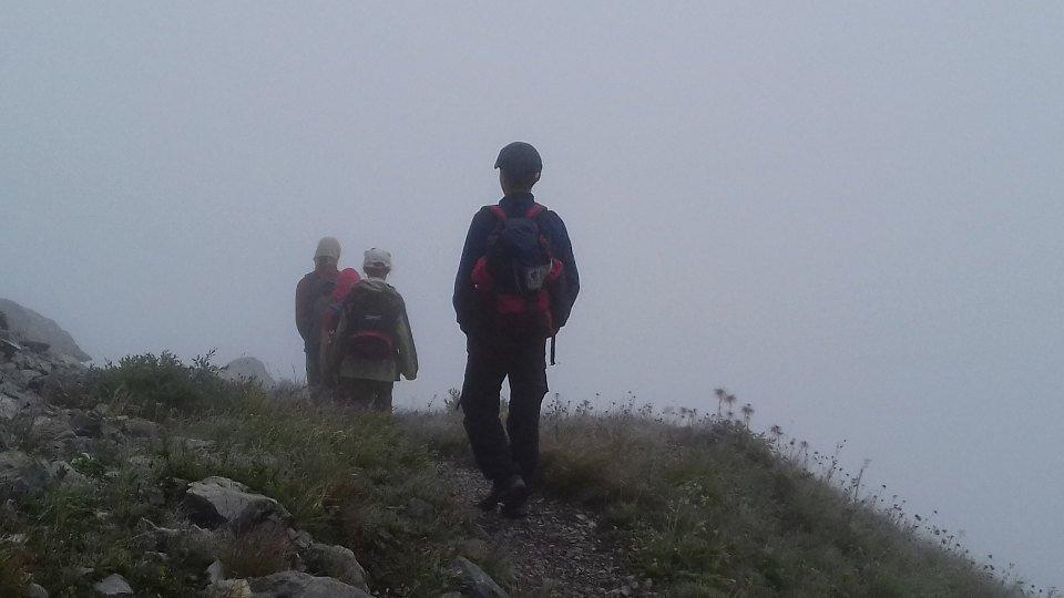 Nebel auf dem Abstieg zur Hochweißsteinhütte