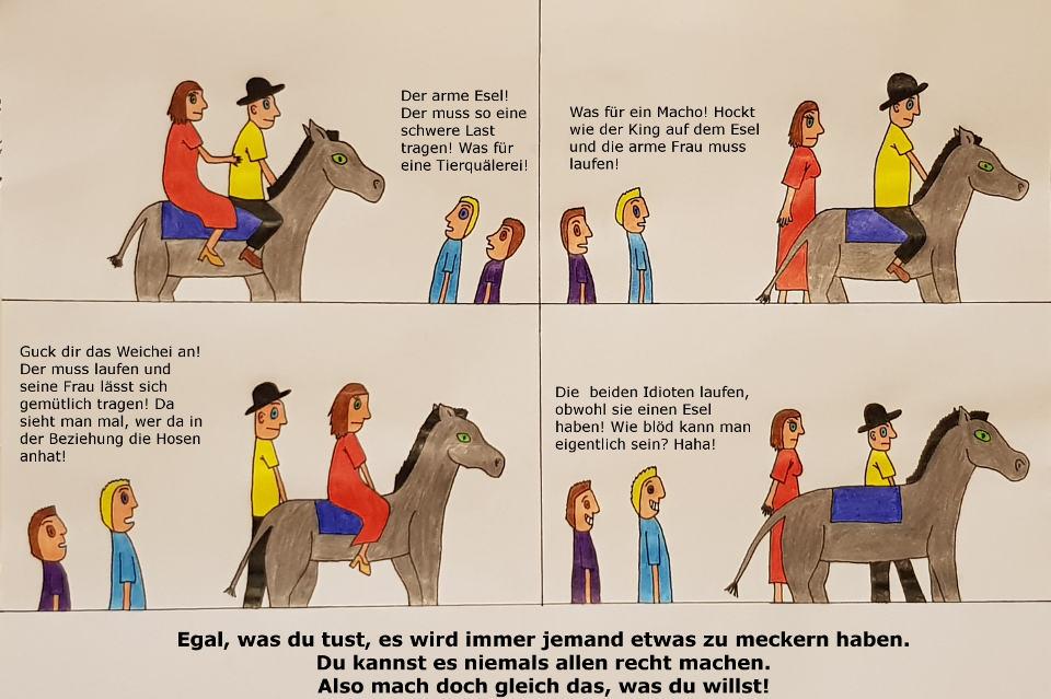 Mann und Frau auf einem Esel