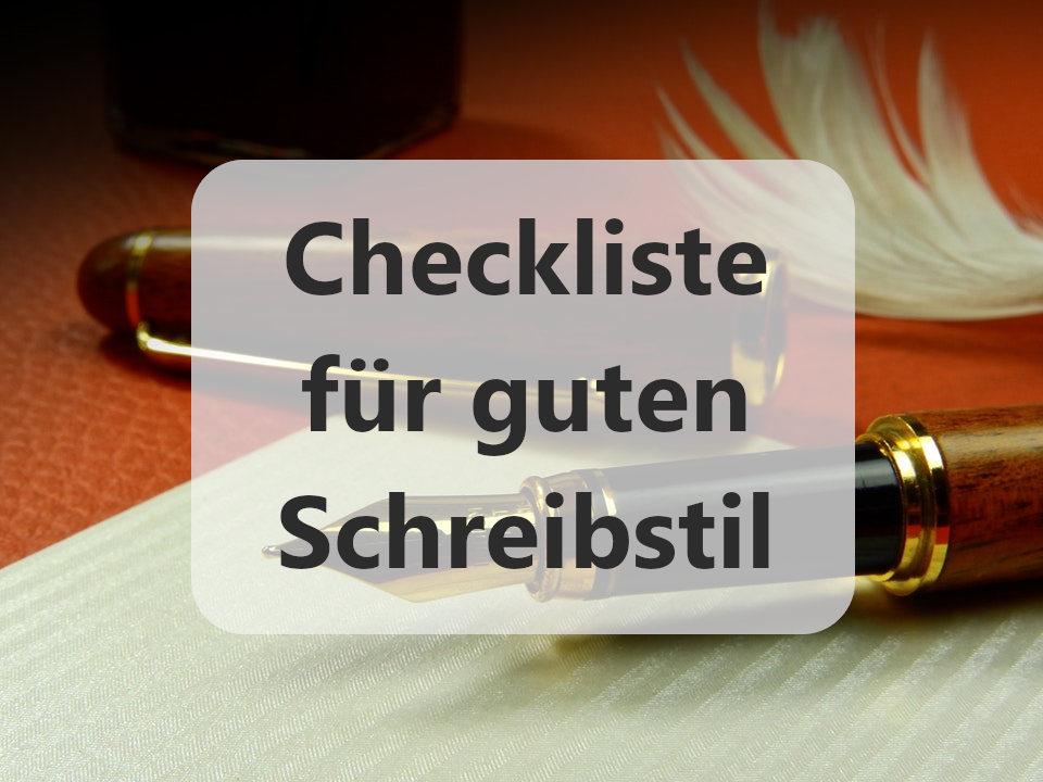 Checkliste für guten Schreibstil Füller
