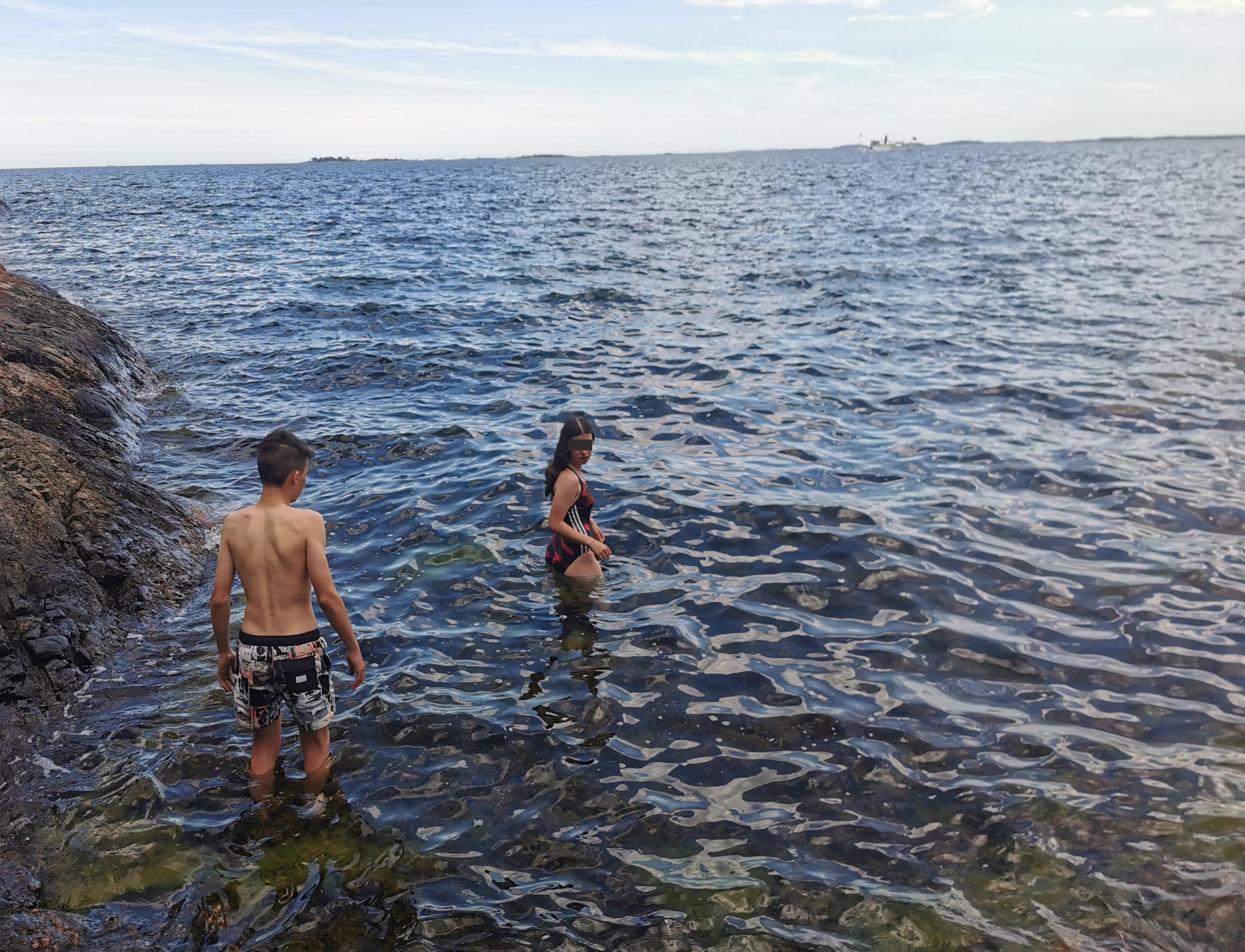 Sörmlandsleden Baden im Meer